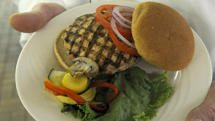 A turkey burger is at Steeler Training Camp in Latrobe.
