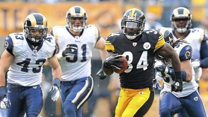 Rashard Mendenhall runs the ball against the St. Louis Rams during a game at Heinz Field last year.