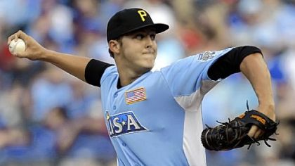 United States pitcher Jameson Taillon delivers during the fifth inning of the MLB All-Star Futures baseball game against the World, in Kansas City in July.