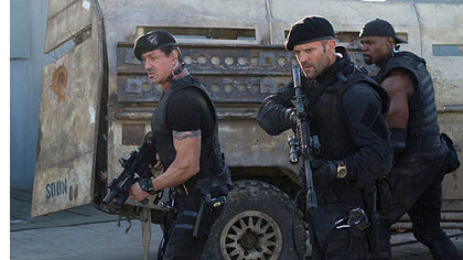 Sylvester Stallone, Jason Statham and Terry Crews see lots of action in &quot;The Expendables 2.&quot;