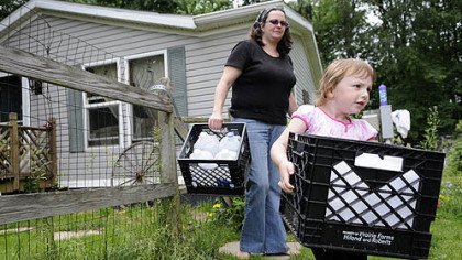 Kim McEvoy and her daughter, Skylar Sowatsky, 3, load empty jugs into the car so Ms. McEvoy can refill them with clean water at work.  The family has been without running water since January.  &quot;This is America 2012. Look at what&#039;s happening. We have all this technology but no water,&quot; she said.