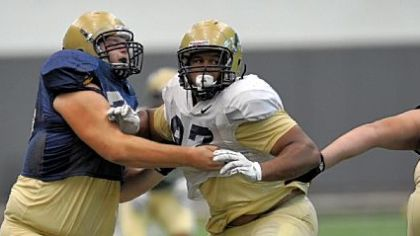 University of Pittsburgh's Aaron Donald (white jersey) during a drill at an Aug. 14 practice.