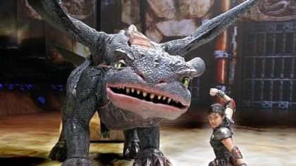 Toothless the dragon with Gemma in &quot;How to Train Your Dragon.&quot;
