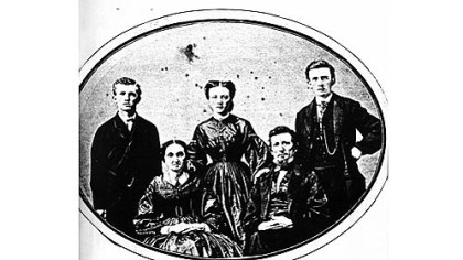 The Pattersons:  Standing from left are David, Henrietta and Thomas. Seated from left are Elizabeth and William. This photo was probably taken about 1861.