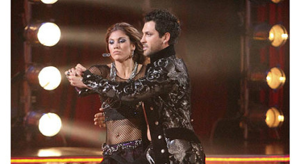 "Soccer player Hope Solo performs with her partner Maksim Chmerkovskiy on ""Dancing With the Stars"" last October."