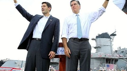 U.S. Rep. Paul Ryan, left, and Republican presidential candidate Mitt Romney.
