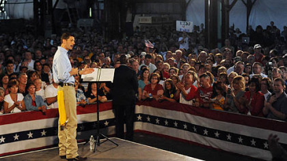 GOP vice presidential candidate Paul Ryan speaks at a rally at Beaver Steel Services in Rosslyn Farms.