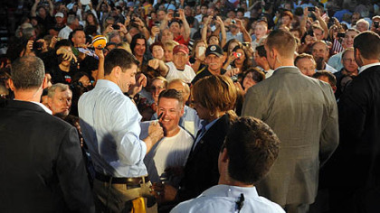 Paul Ryan greets the crowd during a rally in Rosslyn Farms today.