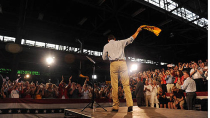 GOP vice presidential candidate Paul Ryan waves a Terrible Towel at a rally in Rosslyn Farms today.