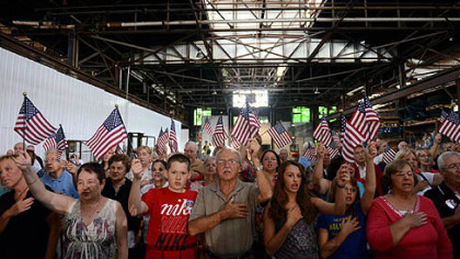 A crowd at the Ryan rally at Beaver Steel Services Inc.