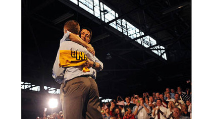 Paul Ryan hugs Congressman Tim Murphy at a rally in Rosslyn Farms today.