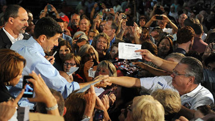 Paul Ryan shakes hands with well-wishers.