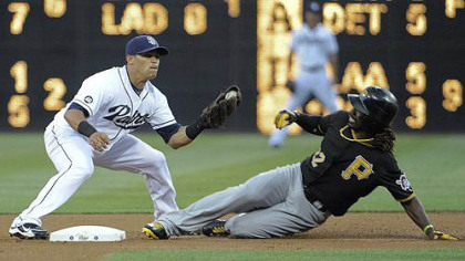the Pirates&#039; Andrew McCutchen steals second base in front of the tag of Everth Cabrera of the Padres during the first inning at Petco Park in San Diego.