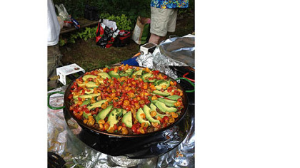 A Texas Paella that includes meat, beans, rice and chilies.
