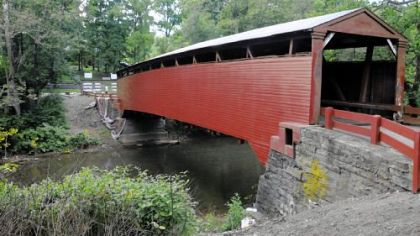 The Bells Mills Bridge, the only covered bridge in Westmoreland County, is undergoing repairs.