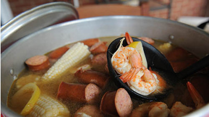 A Whitehall Shrimp Boil included kielbasa, potatoes and corn.