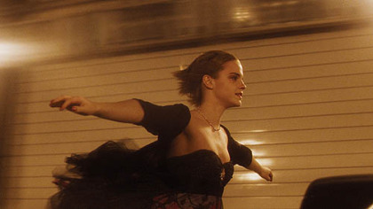"Emma Watson in the Fort Pitt Tunnel during filming of ""The Perks of Being a Wallflower."""