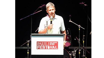 Libertarian presidential candidate and former governor of New Mexico Gary Johnson addresses a crowd gathered at P.A.U.L. Fest at the Florida State Fairgrounds in Tampa, Fla.
