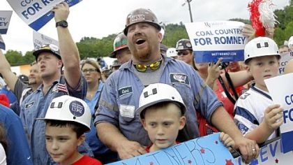 A coal miner cheers as Republican presidential candidate Mitt Romney campaigns at the American Energy Corporation Aug. 14 in Beallsville, Ohio.