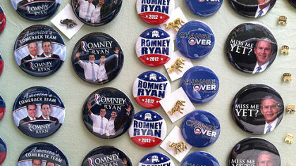 Campain buttons at the Republican National Convention in Tampa.