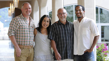 Members of the New City Church: worship leaders Greg and Rebecca Sparks, the Rev. Rodger Woodworth and pastoral assistant of campus ministry Michael Thornhill.