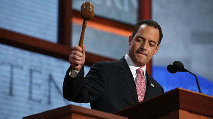 RNC Chairman Reince Priebus bangs the gavel to start the Republican National Convention at the Tampa Bay Times Forum.