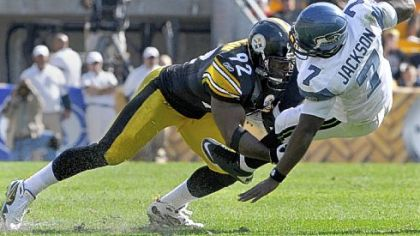 James Harrison sacks Seattle quarterback Tarvaris Jackson during a game at Heinz Field last season.