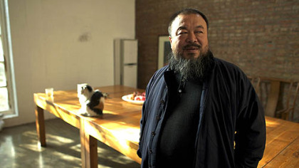 "Chinese artist Ai Weiwei at his home studio in the film ""Ai Weiwei: Never Sorry."""