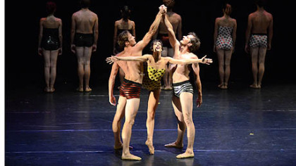 Pittsburgh Ballet Theatre members Robert Moore, left, Eva Trapp and Stephen Hadala perform in Israel.