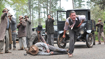 "Guns are drawn in ""Lawless,"" set in Prohibition-era Virginia."