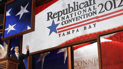 Former Pennsylvania Sen. Rick Santorum addresses delegates during the Republican National Convention in Tampa, Fla.