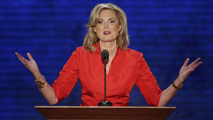 Ann Romney, wife of U.S. Republican presidential nominee Mitt Romney, addresses the Republican National Convention in Tampa, Fla.
