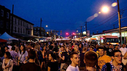 View of The Food Trust's  Night Market in Philadelphia.