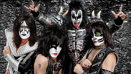 From left, Gene Simmons, Tommy Thayer, Eric Singer, Paul Stanley, Vince Neil, Nikki Sixx, Mick Mars, and Tommy Lee pose in March before the July kickoff of &quot;The Tour.&quot;