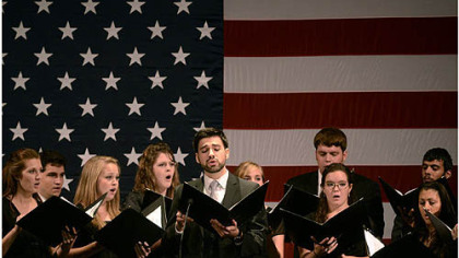 The Clearwater Christian College Cantorum performs on Sunday for the Faith and Freedom Coalition event in Tampa.
