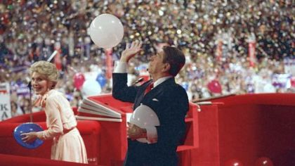 Balloons descend on President Ronald Reagan and first lady Nancy Reagan on the podium of the Republican convention in 1988.
