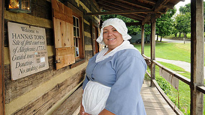 Historic Hanna&#039;s Town guide Tiffany Kolbosky will be giving tours at the site on Labor Day.