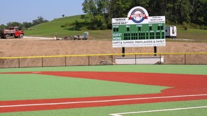 The scoreboard at the new Rotary Miracle Sports Complex in Murrysville.