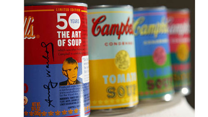 New limited edition Campbell&#039;s tomato soup cans with art and sayings by artist Andy Warhol are  displayed at the Campbell Soup Company in Camden, N.J.  Campbell plans to introduce the special-edition cans of its condensed tomato soup bearing labels reminiscent of the pop artist&#039;s paintings at Target stores beginning on Sunday.