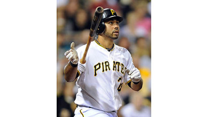 The Pirates&#039; Pedro Alvarez watches his three-run shot in the third inning clear the right center wall against the Cardinals.