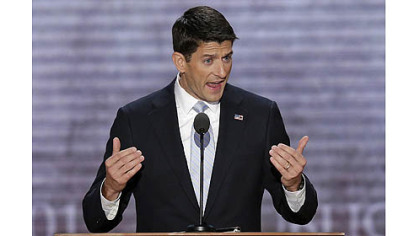 Republican vice presidential nominee Paul Ryan addresses the Republican National Convention in Tampa, Fla.