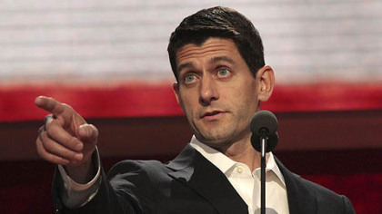 Republican vice presidential candidate Paul Ryan gestures during a walk through ahead of his delivering a speech at the Republican National Convention.