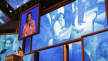 Former Secretary of State Condoleezza Rice addresses the Republican National Convention in Tampa, Fla.