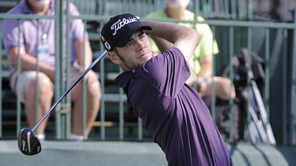 Troy Merritt tees off Thursday in the first round of the Mylan Classic at the Southpointe Golf Club.