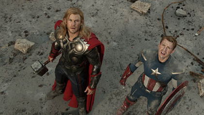 """Marvel's The Avengers"" with Thor(Chris Hemsworth) and Captain America(Chris Evans)."