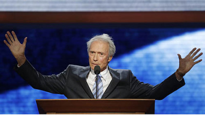 Clint Eastwood, Hollywood actor and director, talks to an empty chair representing President Barack Obama during his remarks Thursday night at the convention.
