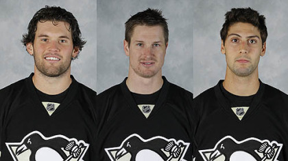 The Penguins have re-signed their final three restricted free agents, from left, left winger Eric Tangradi and defensemen Alex Grant and Robert Bortuzzo. All accepted two-way deals, which pay a reduced salary when the player is with the team&#039;s AHL affiliate in Wilkes-Barre.