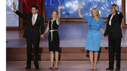 Republican vice presidential nominee, Rep. Paul Ryan, Janna Ryan, Ann Romney and presidential nominee Mitt Romney wave to the delegates during the Republican National Convention in Tampa, Fla.