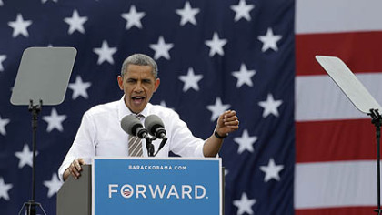 President Barack Obama speaks during a campaign stop at the Living History Farms Saturday in Des Moines, Iowa.