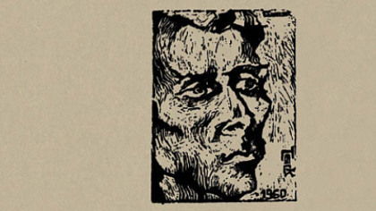 """Jack"" (1960), a woodcut by Gianna Gelmetti. From the cover of Jack Gilbert's ""Collected Poems."""